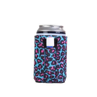 Blue Leopard Regular Can Pocket Handler Can Cooler