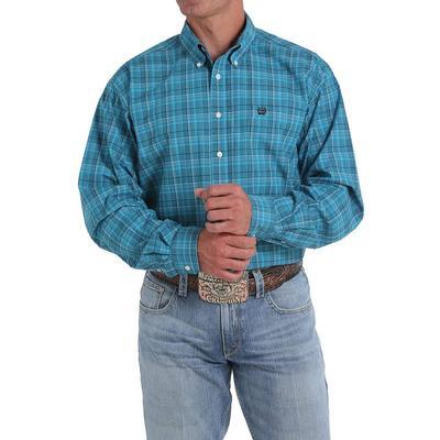 Cinch Men's Teal Tonal Plaid Long Sleeve Shirt