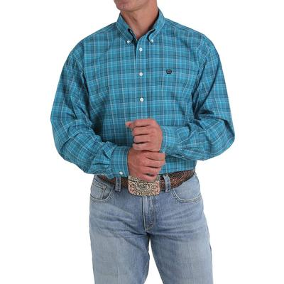 Cinch Men's Teal Tonal Plaid Long Sleeve Shirt TEA