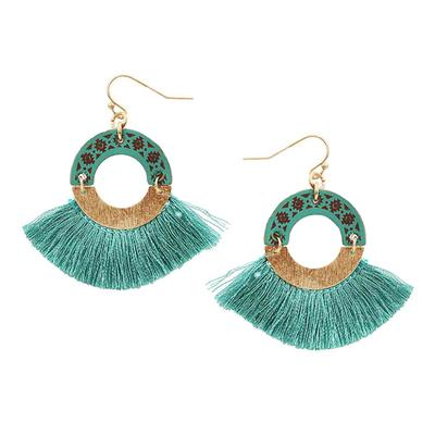 Wooden Hoop With Tassel Earring