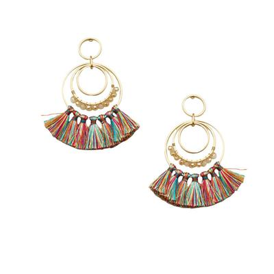 Gold Circles With Beads and Tassels Earrings