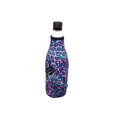 Blue Leopard Bottleneck Pocket Handler Koozie