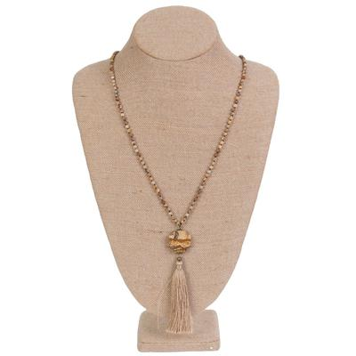 Women's Stone and Tassel Beaded Necklace