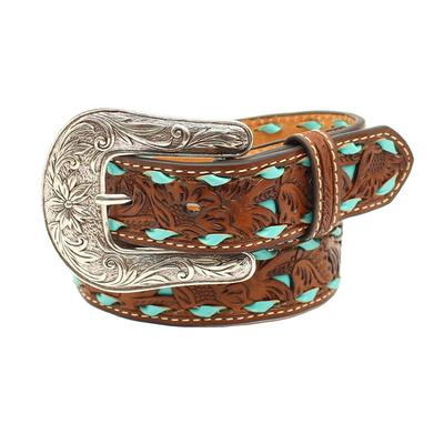 Nocona Girl's Brown Floral Tooled With Turquoise Lacing Leather Belt