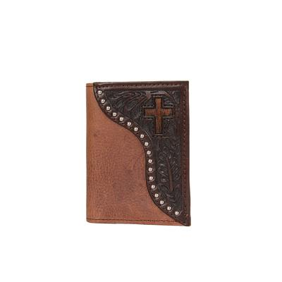 Ranger Belt Company's Men's Leather Tooling and Hide Cross Trifold Wallet