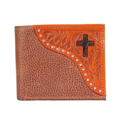 Ranger Belt Company's Men's Leather Tooling and Hide Cross Bifold Wallet