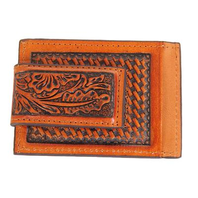Ranger Belt Company's Men's Leather Hand-Tooled Magnetic Money Clip
