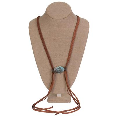 Women's Turquoise Stone Leather Braided Necklace