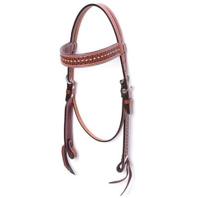 Brow Band Headstall with Rawhide Lace Tooling