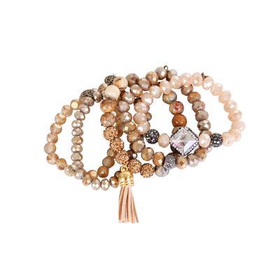 Pink Panache's Jasper and Crystal Beaded Bracelet Set