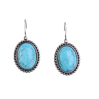 Pink Panache's Turquoise Stone Small Silver Oval Earrings