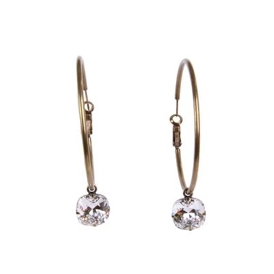 Pink Panache's Clear Crystal On Bronze Hoop Earrings