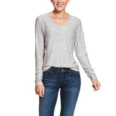 Ariat Women's Long Sleeve Heather Grey Laguna V- Neckline Top