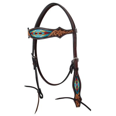 Navajo Brow Band Tooled Headstall
