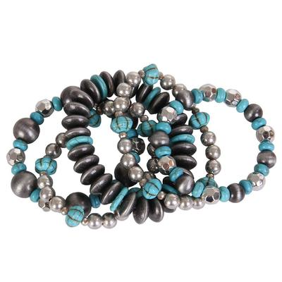 Pink Panache's Silver and Turquoise Beaded Bracelet Set