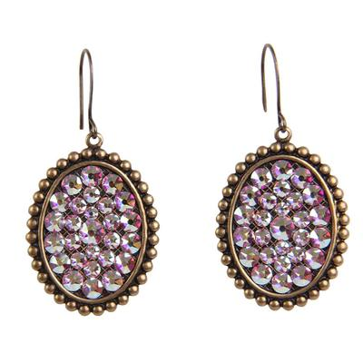 Pink Panache's Bronze and AB Small Oval Earrings
