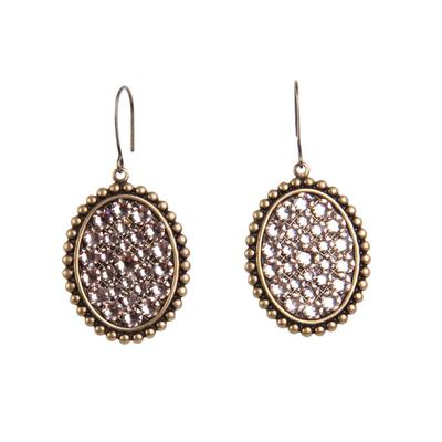 Pink Panache's Bronze and Light Silk Small Oval Earrings