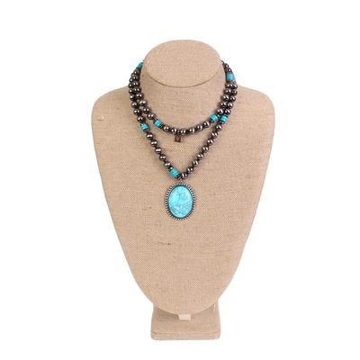 Pink Panache's Turquoise and Burnished Silver Necklace