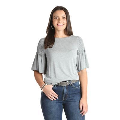 Wrangler Women's Short Sleeve Smocked Flutter Sleeve Knit Top