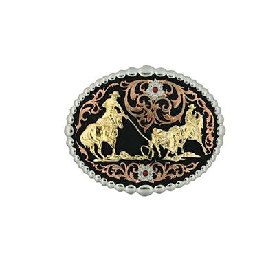 Montana Silversmith's Tricolor Team Roper Belt Buckle