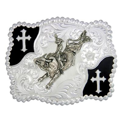 Montana Silversmith's Black Cross Corners Bullrider Belt Buckle
