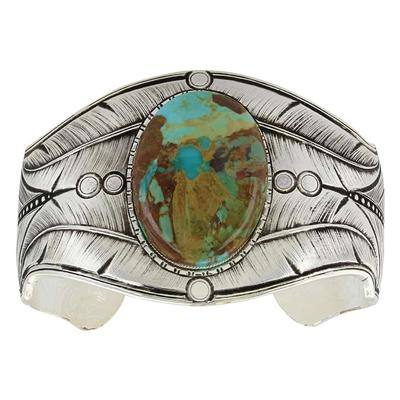 Montana Silversmith's Antiqued Beaded Fletching Turquoise Cuff Bracelet