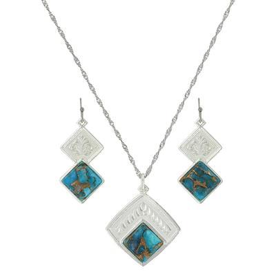 Montana Silversmith's Doubled Down Diamond Turquoise Jewelry Set