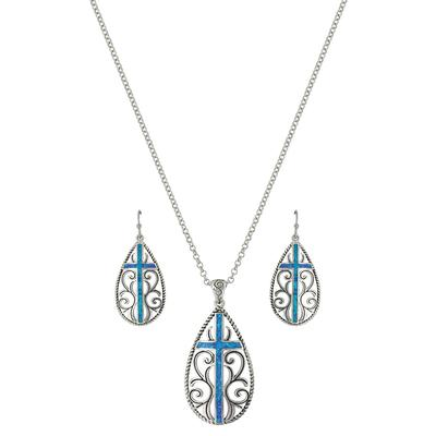 Montana Silversmith's Filigree Water Lights Cross Jewelry Set