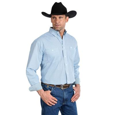George Strait Two Pocket Button Down Blue Print Shirt