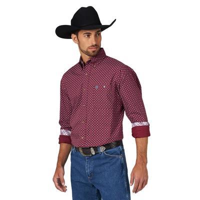 George Strait Men's Long Sleeve One Pocket Printed Burgundy Shirt