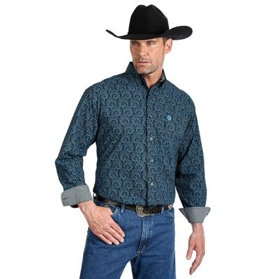 George Strait Men's Printed Long Sleeve Single Pocket Button Down