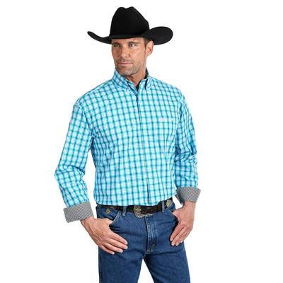 George Strait Men's Single Pocket Blue Button Down