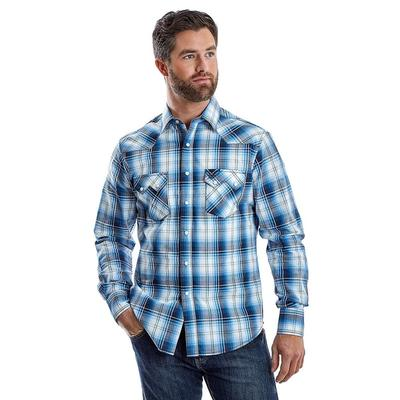 Men's Wrangler Retro Saw Tooth Snap Pocket Western In Blue