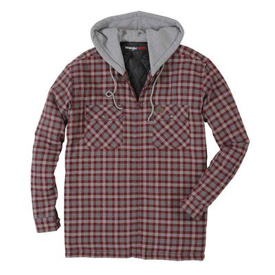 Wrangler Mens Hooded Flannel Jacket