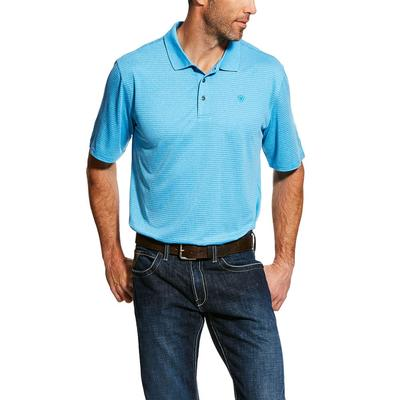 Ariat Men's Short Sleeve Blue Jewel Tek Polo Shirt