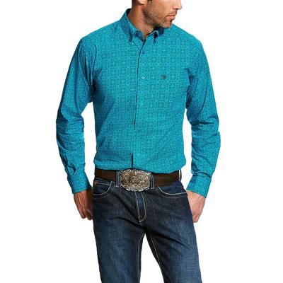 Ariat Men's Long Sleeve Blue Fennessey Print Shirt