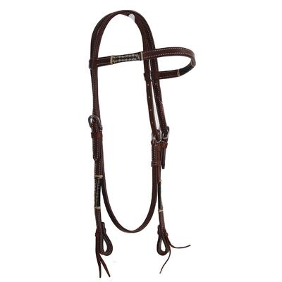 Natural Leather Brow Band Headstall With Raw Hide Knotting