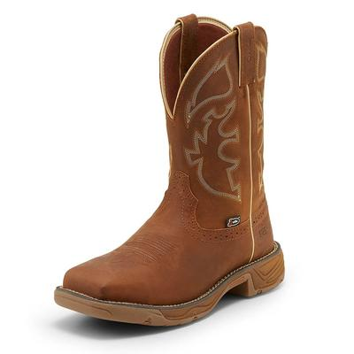 Justin Men's Stampede Rush Rustic Tan Waterproof Steel Toe Boots