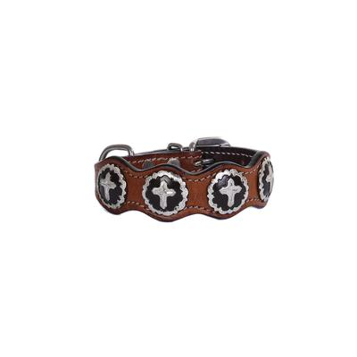 Leather Cross Concho Dog Collar