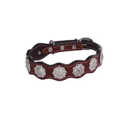 Leather Dog Collar With Classic Conchos