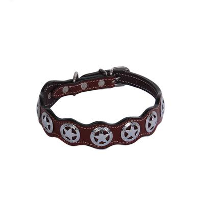 Leather Dog Collar With Star Conchos