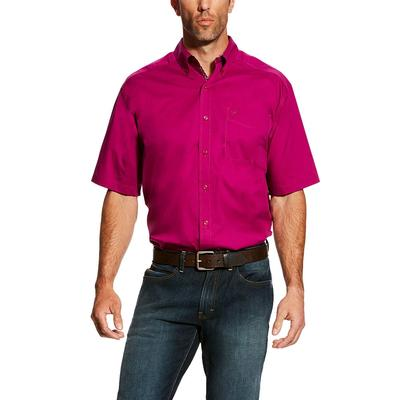 Ariat Men's Short Sleeve Solid Berry Stretch Shirt
