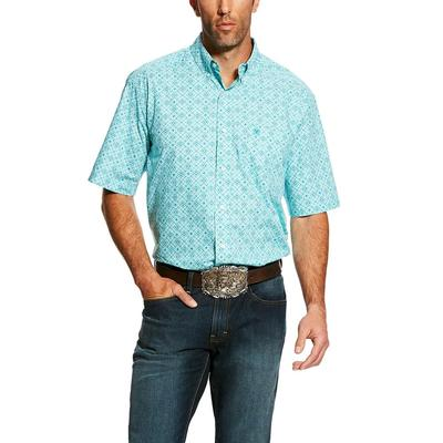 Ariat Men's Short Sleeve Turquoise Hardenbeck Print Shirt
