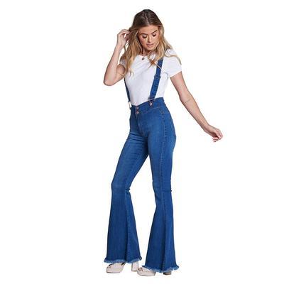 Vibrant Miu Women's Suspender Flare Jeans