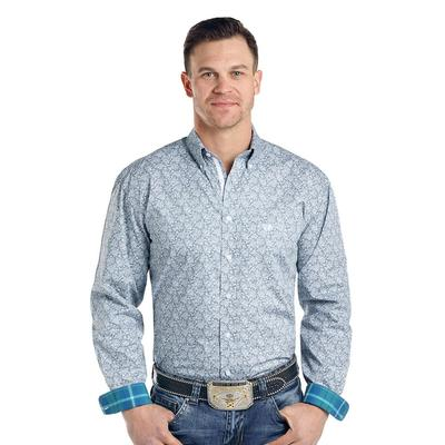 Panhandle Men's Turquoise and Grey Print Long Sleeve Shirt