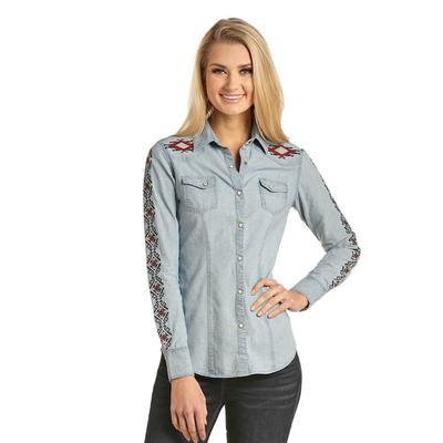 Rock and Roll Denim Women's Aztec Embroidered Chambray Shirt