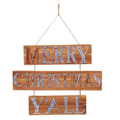 Merry Christmas Y'all Hanging Sign