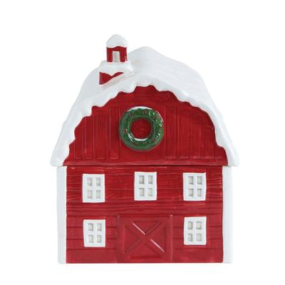 Red Christmas Barn Cookie Jar