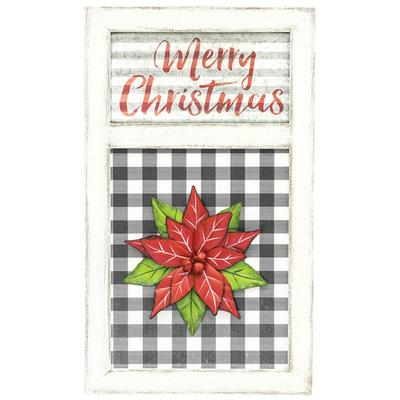 Poinsettia Christmas Hanging Sign