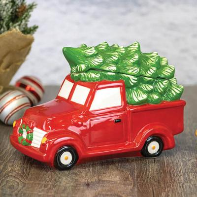 Red Christmas Truck Cookie Jar